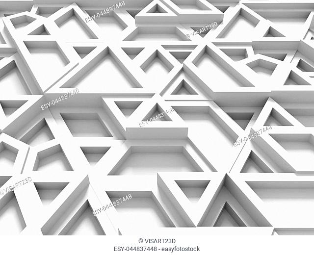 equilateral triangles - white abstract background with shadows - 3d rendering