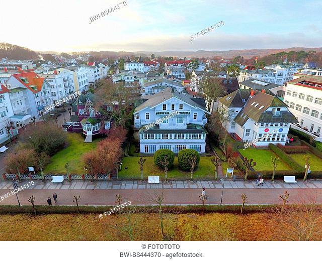 villa Ruscha at the beach front of Binz in winter, 28.12.2016, aerial photo, Germany, Mecklenburg-Western Pomerania, Ruegen, Binz