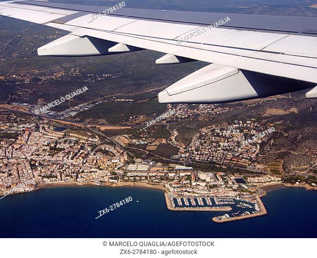 Aerial view of Aiguadolç Leisure Harbour and Sitges Village, Garraf Region, Barcelona Metropolitan Area, Catalonia, Spain