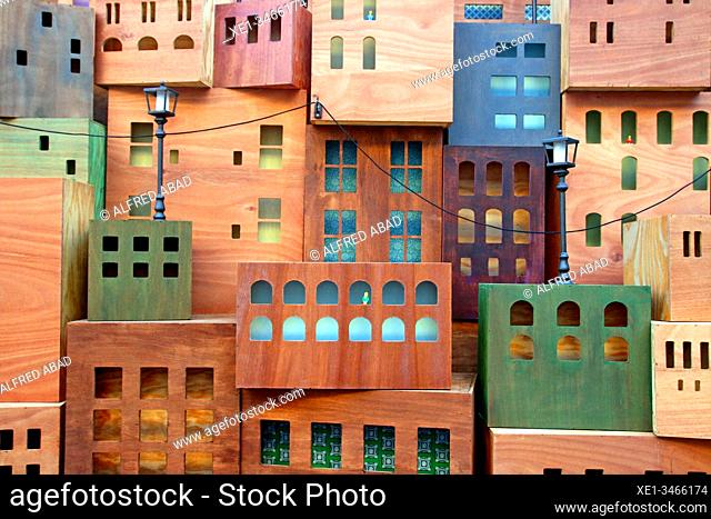 Representation of city buildings, detail of the nativity scene 2019 in the Plaça de Sant Jaume, Barcelona