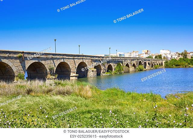 Merida in Spain roman bridge over Guadiana river Badajoz Extremadura