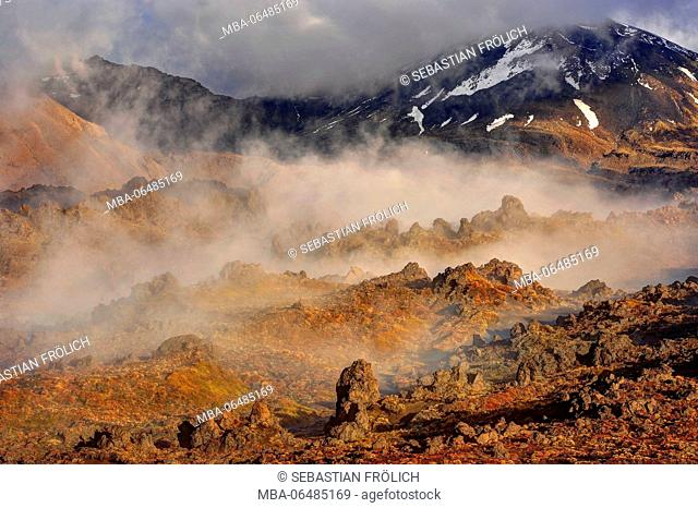 The level of Mordor. Early morning fog in the Oturere Valley of the Tongariro national park, a rocky volcano scenery in New Zealand