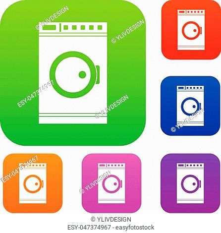 Washing machine set icon in different colors isolated vector illustration. Premium collection