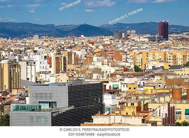Panoramic of Barcelona from Colon monument Catalonia Spain