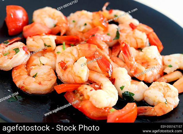 Shrimps. Heap of baked shrimps on the table