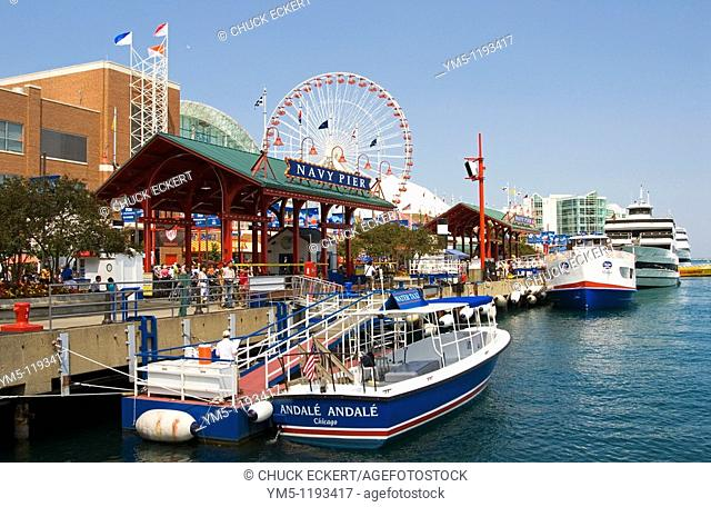 Chicago's Navy Pier, Water Taxi,Ferris Wheel and Tour Boats