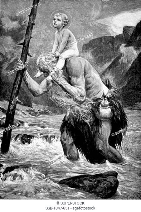 Saint Christopher, Patron Saint of Travelers Carries the Christ Child Across the River