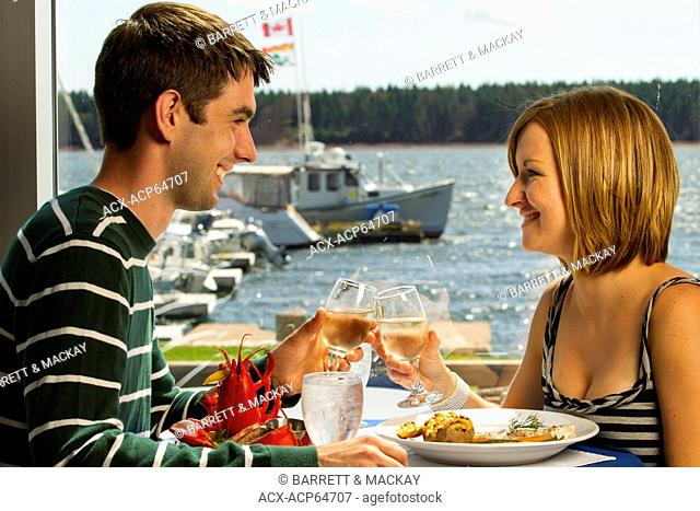 Couple dining, Boat Shop steak & Seafood Restaurant, Alberton, Prince Edward Island, Canada