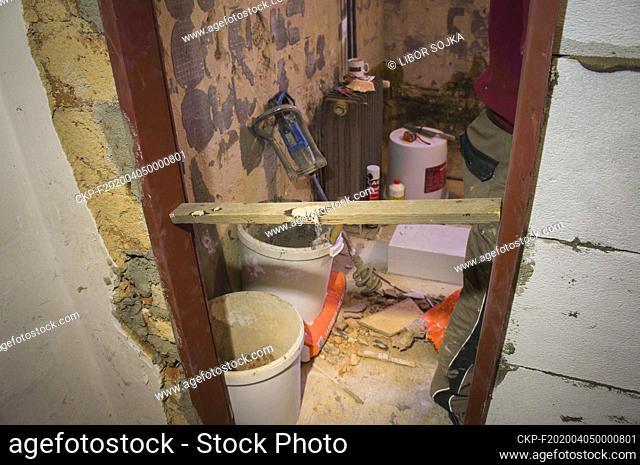 construction site, family house, bathroom, reconstruction, renovation, on March 24, 2020. (CTK Photo/Libor Sojka)