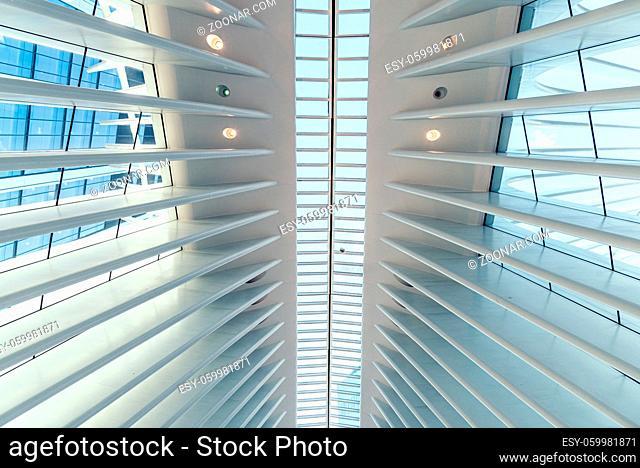 New York City, USA - June 24, 2018: Interior view of World Trade Center Transportation Hub or Oculus designed by Santiago Calatrava architect