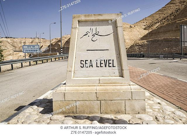 Dead Sea Level sign, Israel, Middle East