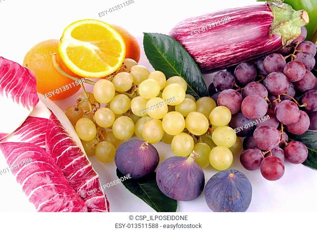 autumnal fruit and vegetables on white background, soft shadows