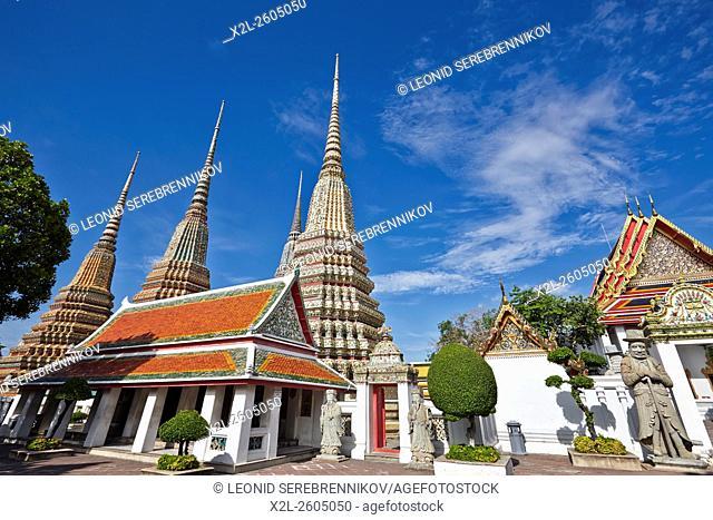 Phra Maha Chedi Si Rajakarn, The Great Pagodas of Four Kings. Wat Pho Temple, Bangkok, Thailand