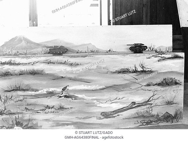 Picture of a painting depicting a field with two tanks in the background, Vietnam, 1969