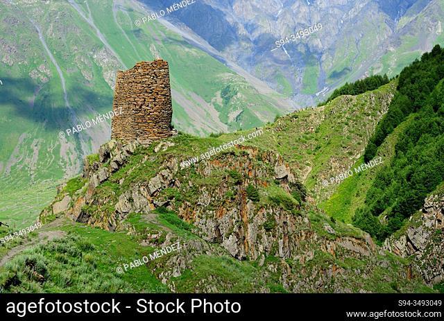 Ruins of a tower in the way to Kazbeg mount, Kazbegi, Georgia