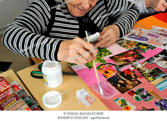 Reportage on art therapy in Ham hospital?s long-stay unit, France. Art therapy sessions are carried out in the Adapted Care and Activity Hub (P?le d?Activit?s...
