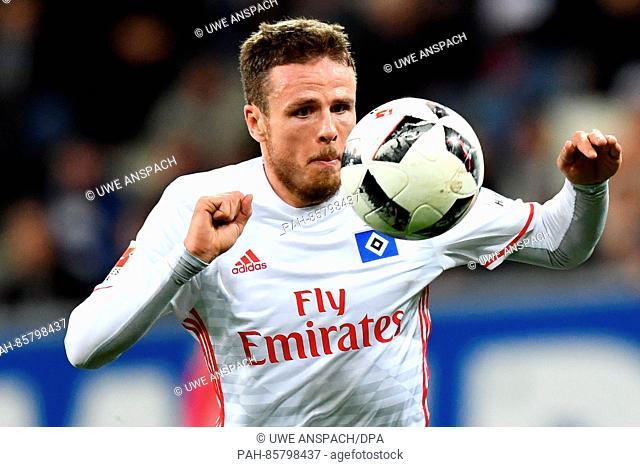 Hamburg's Nicolai Mueller in action during the Bundesliga soccer match between TSG1899 Hoffenheim and Hamburger SV at Rhein-Neckar-Arena in Sinsheim, Germany