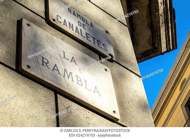 Las Ramblas in Barcelona, Catalonia, Spain