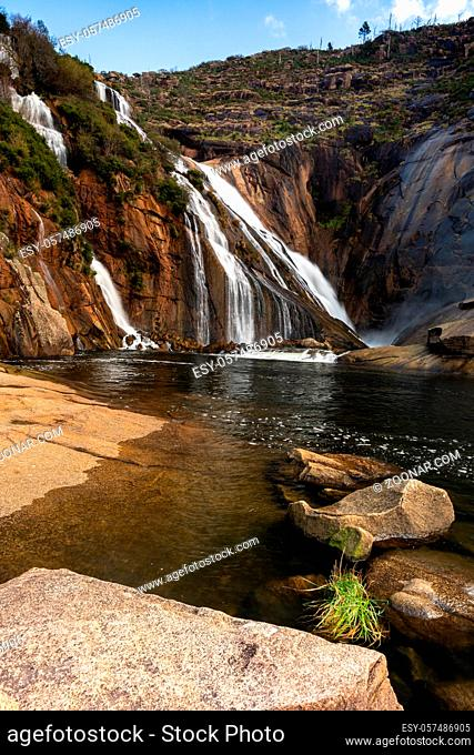 A view of the Ezaro Waterfalls in western Galicia in northern Spain