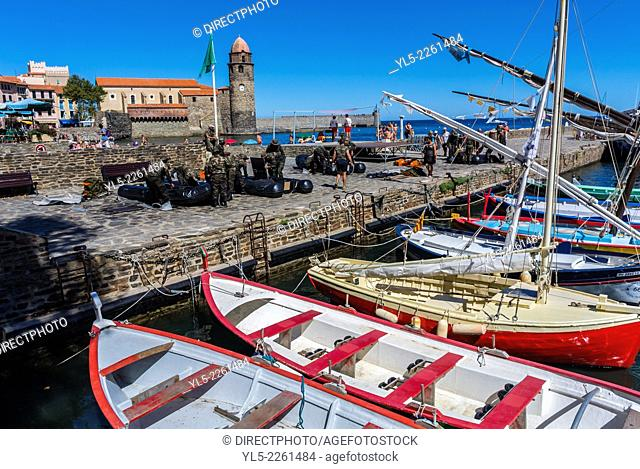Collioure, France, Port Scene with Fishing BOats and French Army Soldiers Preparing for Maneuver, Seaside Village near Perpignan, South of France