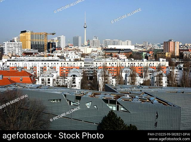 23 February 2021, Berlin: View over the Jewish Museum (front), built according to the plans of Daniel Libeskind on Lindenstraße in Kreuzberg