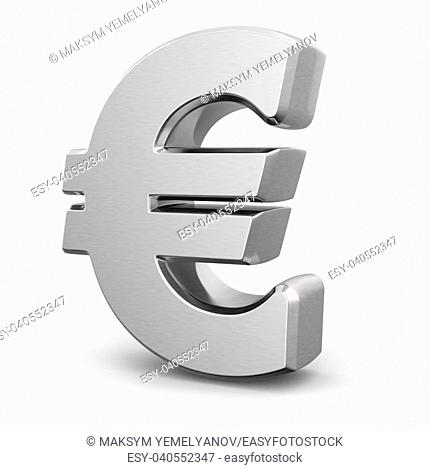 Silver euro currency sign on white isolated background. 3d