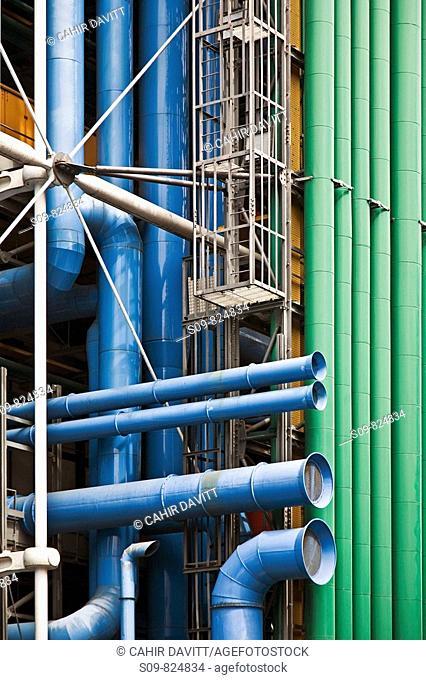 Detail from the Pompidou Centre, Hotel De Ville, Paris, Ile De France, France