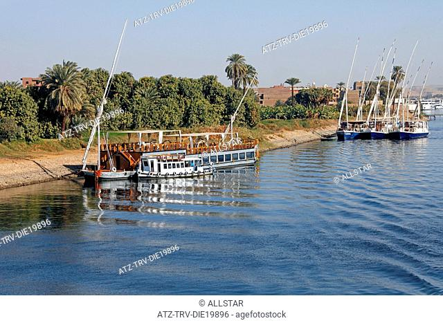 MOORED SAILING BOAT & FELUCCAS; RIVER NILE, EGYPT; 09/01/2013