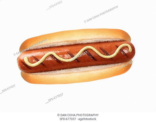 A grilled hot dog with mustard