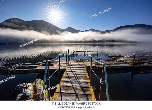 Foggy sunrise at Westview Marina in Tahsis, near Gold River, Vancouver Island, British Columiba, Canada