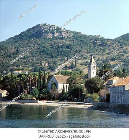 Urlaub auf der Insel Lopud, Dalmatien, Kroatien, Jugoslawien 1970er Jahre. Vacation on the Island of Lopud, Dalmatia, Croatia, Yugoslavia 1970s