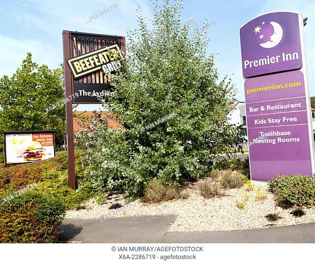 Premier Inn hotel Swindon West budget hotel and grill signs, Lydiard Fields business park, Swindon, England, UK