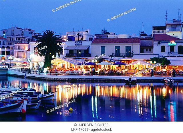 Restaurants at Voulismeni Lake, Ágios Nikolaos, Crete, Greece