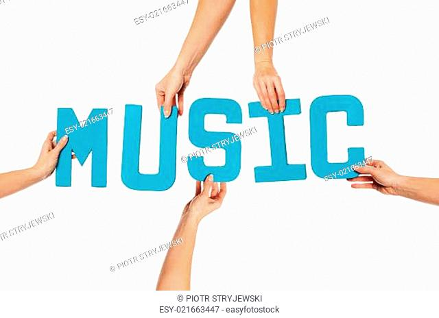 Turquoise alphabet lettering spelling MUSIC