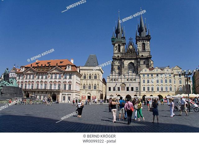 View of the Tyn Church on Old Town Square in Prague