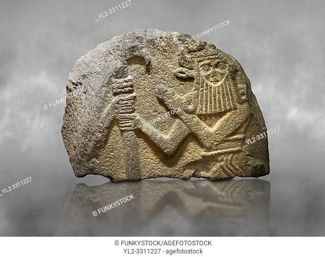 Hittite monumental relief sculpted orthostat stone panel of Water Gate. Basalt, 900 - 700 BC. Anatolian Civilisations Museum. Ankara. Turkey.