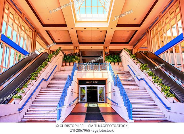 Entrance foyer to the pink Tampa Convention Center building in Florida