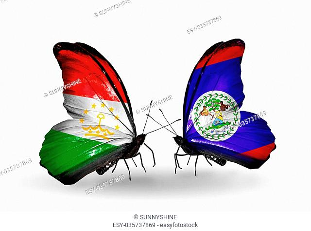 Two butterflies with flags on wings as symbol of relations Tajikistan and Belize