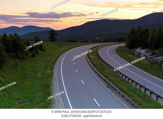 Sunrise from along Route 93 in the northern section of Franconia Notch State Park in the New Hampshire White Mountains during the summer months
