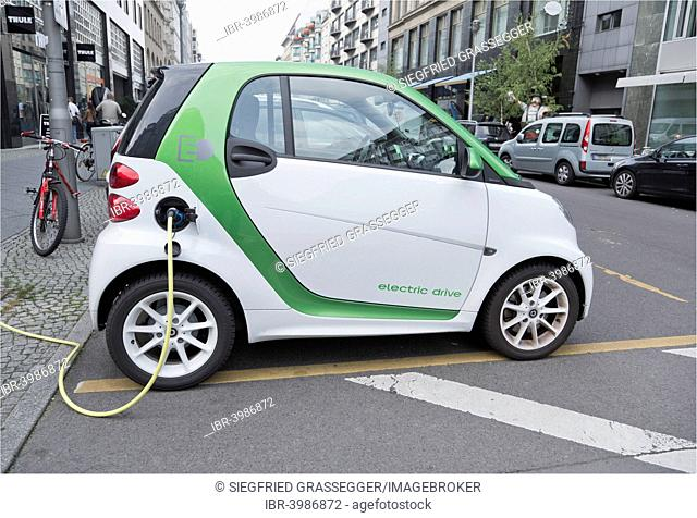 Electric car, charging station, Berlin, Germany