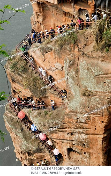 China, Sichuan Province, Leshan, Emei Mountain, Buddha of Leshan Grand Site listed as World Heritage by UNESCO, largest Buddha in the world with 71m