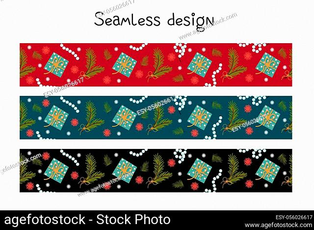 Trending colors New Year and Christmas 2021. Festive ribbon for gift wrapping. Seamless border, tape repeating