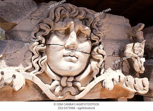 Medusa head in the Temple of Apollo at the Archeological area of Didim, Didyma, Aydin Province, Turkey, Europe