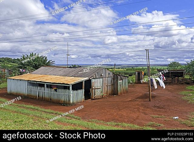 Primitive wooden hut / dwelling near the town Edelira in rural Itapúa, Paraguay