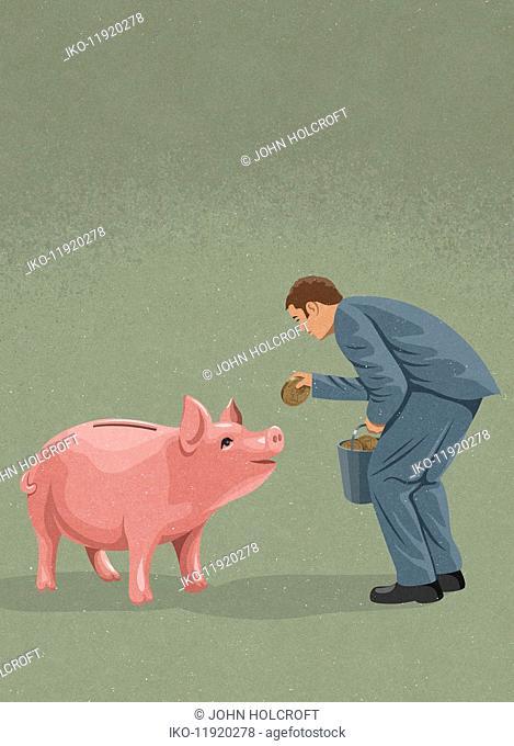 Businessman feeding money to piggy bank