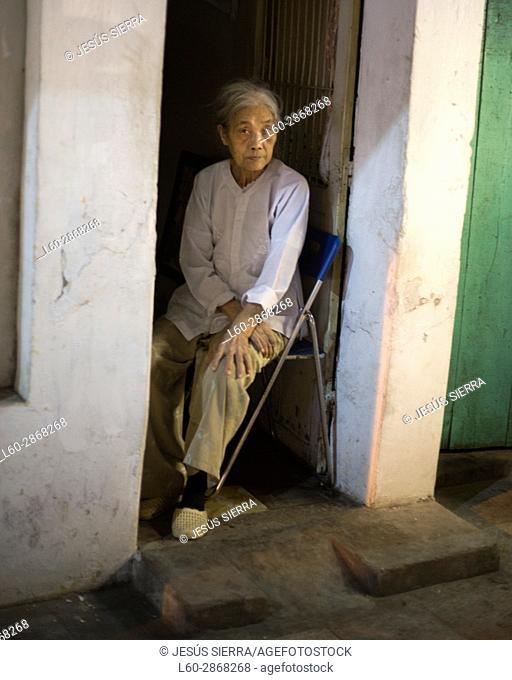 Old woman in Hanoi. Vietnam