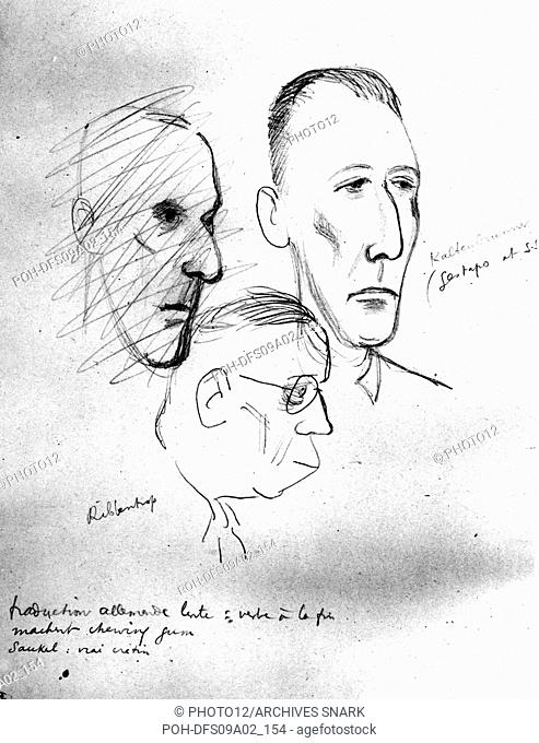 Jean Oberle. Drawings from the Nuremberg Trials. Ribbentrop and Kaltenbrunner 20th Germany - World War II Vincennes. War Museum