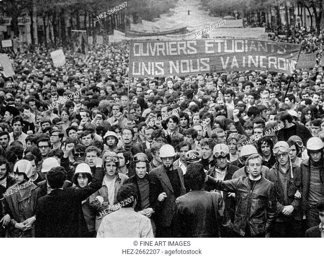 French Social Revolution of 1968. Students march in the streets of Paris in May 1968, 1968