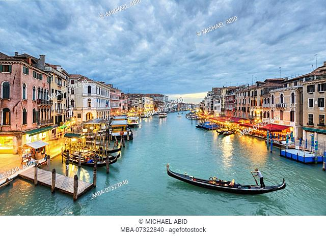 Grand Canal view at night from the Rialto Bridge, Venice, Italy