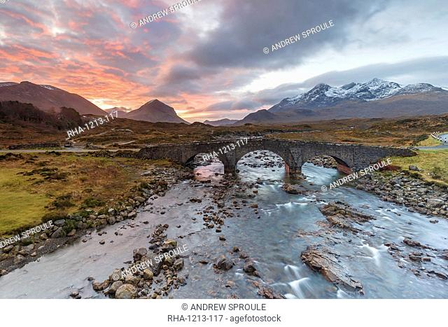 Sgurr nan Gillean in the Cuillin mountains from Sligachan Bridge, Isle of Skye, Inner Hebrides, Scotland, United Kingdom, Europe